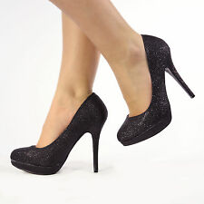 Womens Ladies High Stiletto Heel Platform Court Shoes Size 3-8 Black Glitter UK 6 EU 39