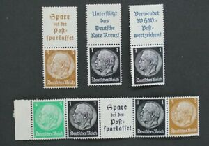 Germany Third Reich, Hindenburg Strips and Pairs from Booklets, mint Stamps