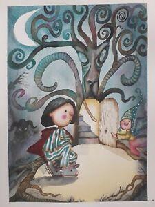 ORIGINAL ARTWORK PANS LABYRINTH FAIRY FAUN TREE MAGICAL WATERCOLOUR PAINTING...