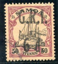 Samoa 1914 KGV 6d on 50pf black & purple/buff very fine used. SG 108. Sc 108.
