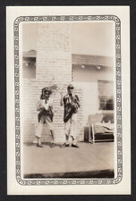 FREAKY MAKEUP WOMEN TUG & PULL on RAGGEDY COSTUME ~ 1930s VINTAGE PHOTO
