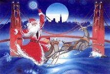 12 Merry Christmas Greeting card,Santa,San Francisco,Golden Gate Bridge,Reindeer