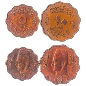 KINGDOM OF EGYPT: SET OF 2 COINS: 5, 10 MILLIEMES 1938-1943