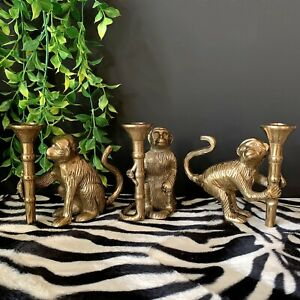 Gold Metal Monkey Candle Holders Candlestick- 3 Designs For Taper/Dinner Candle
