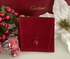 "Cartier Red Suede Jewelry Pouch Snap Storage Protective Ginza Tokyo 2.5""x2.75"""