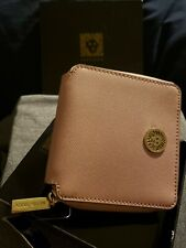 Anne Klein Women's Faux Leather Zip Around Square FRENCH WALLET - Pink/Gold NEW