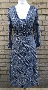 Per Una M&S Ladies Size 12 Crossover Tie Wrap Dress Long Sleeve Blue/Green VGC