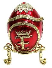 """Decorative Egg Trinket Box Hand Paint Easter Egg """"F"""" text with Crystals, Red Col"""
