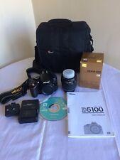 Nikon D5100 Fotocamera con 18-55 DX Lens + BAG caricabatterie batteria + libretto di istruzioni.
