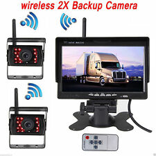 "24V Reversing Kit 7"" LCD Monitor 2 CCD IR Cameras Wireless Horse Trailer Van RV"