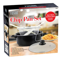 Chip Frying Pan Carbon Steel Non stick Deep fat Fryer with Basket & Lid