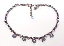 Vintage Mary Demarco Opal Amethyst Rhinestone Silver tone collar Necklace