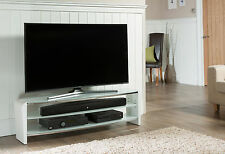 Alphason New Alpha Francium 1400 White and Smoked Glass TV Stand FRN1400/3WHT/SK