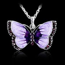 Women Fashion Enamel Butterfly Crystal Pendant Silver Chain Necklace Jewelry