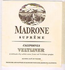 1930s California MADRONE SUPERME VELTLINER WINE label