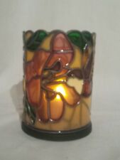 """Vintage humming bird Stained Glass Votive Shade Floral 4.5"""" with  base ."""
