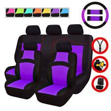Universal Car Seat Covers Purple For Women Girls Airbag Rear Split Seat 40/60