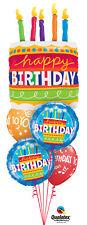 BIRTHDAY BALLOON BOUQUET BIRTHDAY CAKE & MUSIC NOTES QUALATEX 5 BALLOON BOUQUET