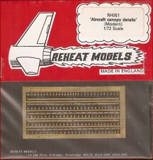 Reheat Models Photo-Etch Modern Aircraft Canopy Details for 1/72 Scale Model Kit