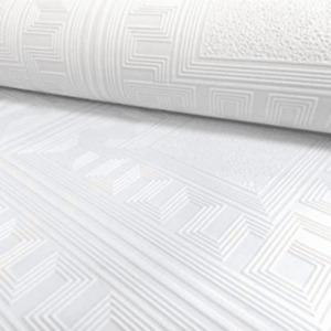 Belgravia Moda Aztec Square Geometric White Blown Paintable Wallpaper 5835