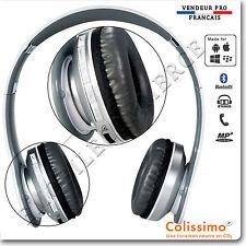 Casque Bluetooth Stéréo Sport Pliable Ecouteurs MP3 avec un micro intégré blanc