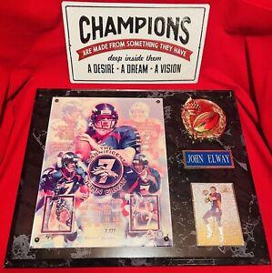 "NFL Limited Edition #7 John Elway Championship Plaque (#1605/7,777)  15"" * 12"""