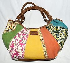 Relic Multi Color & Floral Striped Fabric with Tan Faux Leather Trim Hobo Bag
