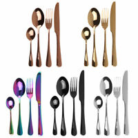 24pc stainless Cutlery rainbow rose gold black Tableware set silverware forks