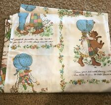"""American Greetings Vintage Holly Hobbie Twin Flat Sheet or craft fabric 65 x 96"""""""