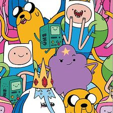 Cartoon Network Adventure Time Packed Characters 100% cotton fabric by the yard