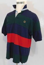 TOMMY HILFIGER Mens Color Block Striped Polo T Shirt Crest Logo Size XL