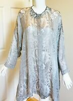 ESKANDAR BURN OUT TOP BLOUSE TUNIC JACKET LONG GRAY MINT DUSTER DEVORE