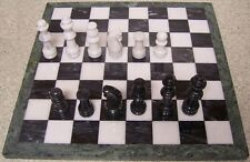 "Chess Set with Marble 16"" Board & Black and White Pieces 3 3/8"" kings NEW"