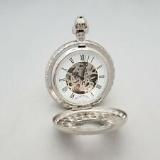 Mount Royal Chrome Plated Double Hunter Pocket Watch with White Skeleton Dial