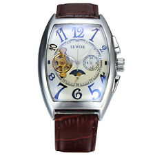 Mechanical Automatic gents Wrist watch Sewor Fashion Mens Moon Phase Tonneau 577