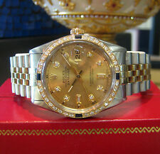 Mens ROLEX Oyster Perpetual Datejust Diamonds Two Tone Yellow Gold and Stainless