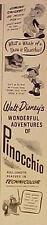 1945 Jiminy Cricket~Pinocchio Walt Disney Movie Memorabilia~RKO Radio Promo AD