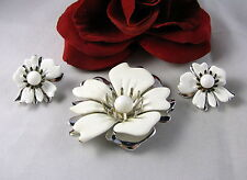 Vintage Sarah Coventry Flower Pin Brooch  &  Earrings Set CAT RESCUE