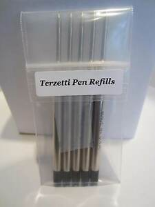 5 TERZETTI BLACK BALLPOINT REFILLS-fit PARKER pen MEDIUM- MADE IN USA