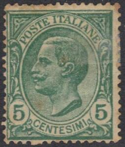 ITALY 1906 5¢ ERROR PRINTED ON BOTH SIDES OFFSET ON GUMSIDE Sc. # 94 SOME TONED