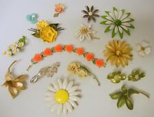 Vintage 1940 s Retro Large Enamel Metal Flowers Jewelry Brooches Pin Lot 17pc