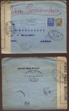 BRAZIL 1918 REGISTERED CENSORED COVER to FRANCE  de Souza Envelope.