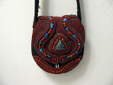 Beaded Purse Turquoise Coral Stones Cowrie Shells Shiva? India Tibetan