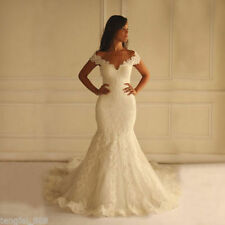 Off-the-shoulder Lace Bridal Gown White Ivory Mermaid Wedding Dress Custom Size