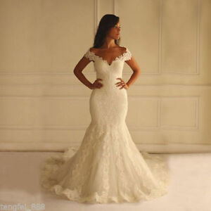 Meganbridal Womens Off Shoulder Mermaid Wedding Dress with Train for Bride Ruffles Tulle Lace Bridal Ball Gown