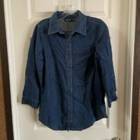 Apt.9 Women's Chambray 3/4 Sleeve Button Up Blouse size M