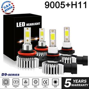 4PCS 9005 + H11 Combo Total 4000W 600000LM LED Headlight Kit Hi/Lo Light Bulbs