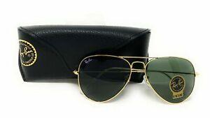 Ray Ban Sunglasses Unisex Aviator RB3025 Gold Frame Green 58mm