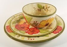 """3pc set Soup/Cereal Bowl with 9"""" and 11"""" plate Olivia byPIER 1. Ready to ship"""