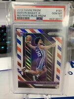 2018 Panini RED WHITE BLUE Prizm #181 Marvin Bagley ROOKIE RC PSA 10 GEM MINT